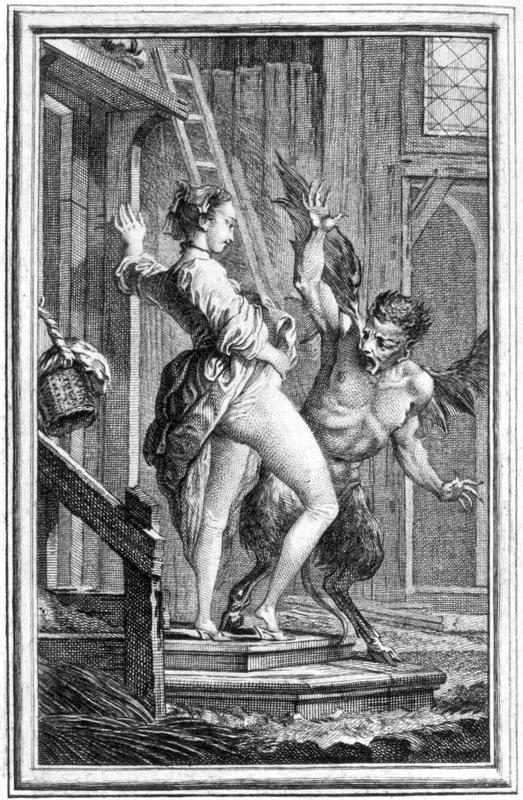 """""""Anasyrma para asustar al demonio"""" (ilustración de Charles Eisen para Le Diable de Papefiguere de Jean de la Fontaine 1621 - 1695)"""
