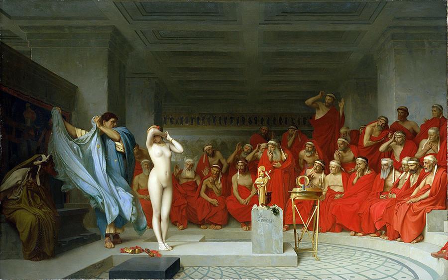 Jean-Léon_Gérôme,  Phryne_revealed_before_the_Areopagus_(1861)