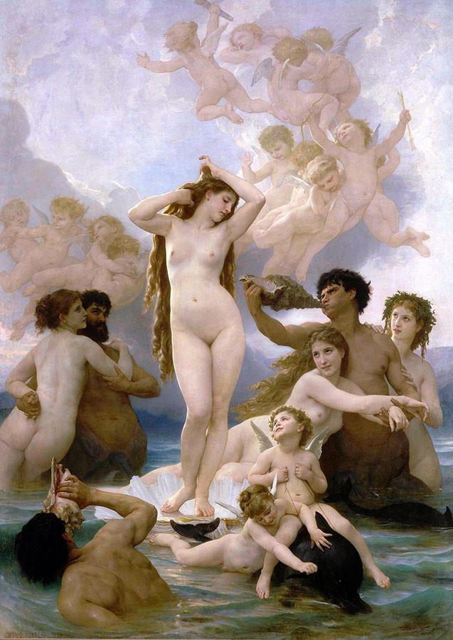 Encuadre de El nacimiento de Venus (1879), William-Adolphe Bouguereau