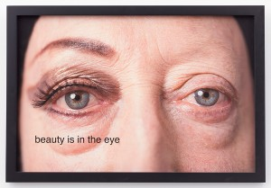 "Martha Wilson, Beauty is in the eye, 2014. Photo by Michael Katchen, Makeup Artist Melissa Roth. 24"" x 19"". Courtesy of the artist and P.P.O.W Gallery, New York."