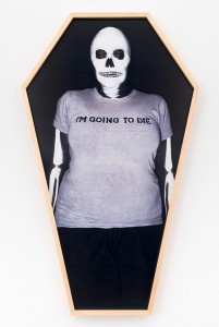 "Martha Wilson,  Me voy a morir | l'm going to die, 2014. Photo by Bill Westmoreland, Makeup Artist Bill Westmoreland. 42"" x 24"". Courtesy of the artist and P.P.O.W Gallery, New York."