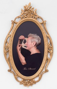 "Martha Wilson,  Piel delgada | Thin-skinned, 2014. Photo by Michael Katchen, Makeup Artist Melissa Roth. 18"" x 13"" oval in 1960s Styroco Regency frame, 24"" x 15"". Courtesy of the artist and P.P.O.W Gallery, New York."
