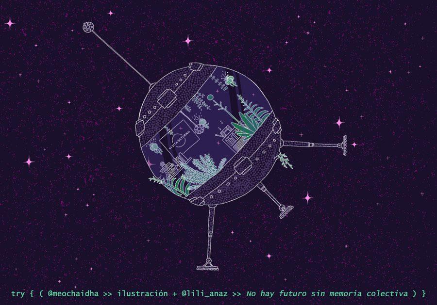Imagen: ilustración de un satèlite con plantas en el espacio.